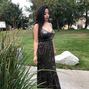 Beautiful Dark Sage Velvet Crush Maxi Dress